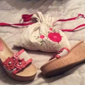 Coach peach flower wedge sandals size 6